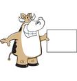 Cartoon cow holding a sign vector