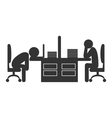 Flat office icon with fizzle out workers isolated vector