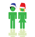 People with blue and red hat vector
