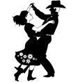 Polka dancers silhouette vector
