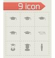Black academic cap icon set vector