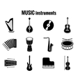 Black music instrument icons on white background vector