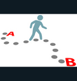 Person walk follow path plan point a to b vector