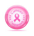 Pink ribbon glossy icon vector