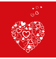 Red valentines day card with hearts vector