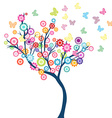 Tree with flowers and butterflies vector