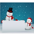 Snowman family in christmas winter scene with sign vector