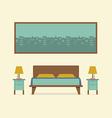 Flat design bedroom interior vector