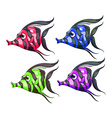 Four colorful fishes vector