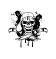 Skull in baseball cap and knife vector