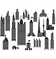 Silhouette of perspective city buildings vector