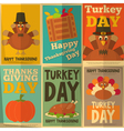 Thanksgiving day retro posters vector