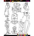 Retro people set cartoon coloring page vector