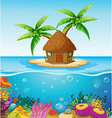 Hut on island vector