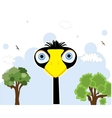 Cartoon black bird vector