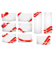 Set of gift card notes with red ribbons vector