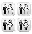 Wedding married couple bride and groom buttons set vector