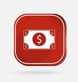 Dollar bill color square icon vector