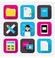 Education themed squared app icon set vector