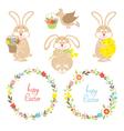 Set for easter easter bunnies flowers birds vector