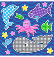 Cute colorful marine animals vector