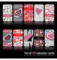 Set of ten valentine cards vector