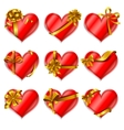 Heart-shaped red cards vector