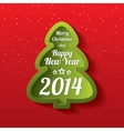 Merry christmas green tree greeting card 2014 vector