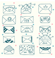 Sketch style mail message or envelope hand drawn vector