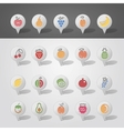 Fruits mapping pins icons vector