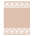 Beige background with two white lacy flower border vector