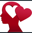 Valentine girl heart head love mind space vector