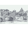 Original sketch drawing of rome italy cityscape vector