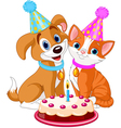 Cat and dog celebrating vector