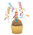 Birthday chocolate cupcake vector