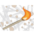 Match in fire drawing vector
