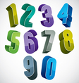 3d numbers set in blue and green colors made with vector