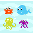 Cartoon sea creachers vector