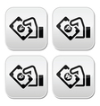 Hand with money icon - yuan peso wan rouble vector