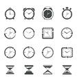 Clock icon black set vector