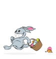 Cartoon easter rabbit with basket full of eggs and vector