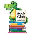 Books and crocodile vector