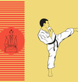 The man shows karate vector