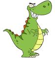 Angry dinosaur cartoon character vector