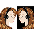 Girl listens to the music vector
