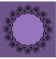 Round black lacy frame on violet background vector