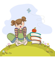 Studious girl sitting barefoot in the grass vector