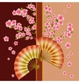 Background with fan and sakura blossom - japanese vector