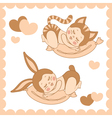 Small sleeping children in costumes bunny and cat vector