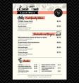 Restaurant lunch menu design template layout vector